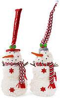 """Новогодняя мягкая игрушка """"Снеговик в шапке"""" 18х18х46см"""