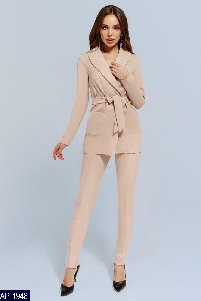 92f9df027d93 Женский классический брючный костюм 2-ка брюки+пиджак,брюки средней посадки  с карманами