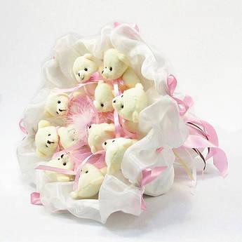 Букет из игрушек Мишки 11 (бело-розовый зефир)