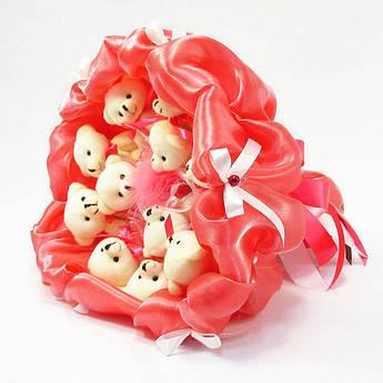 Букет из игрушек Мишки 11 (коралловый)