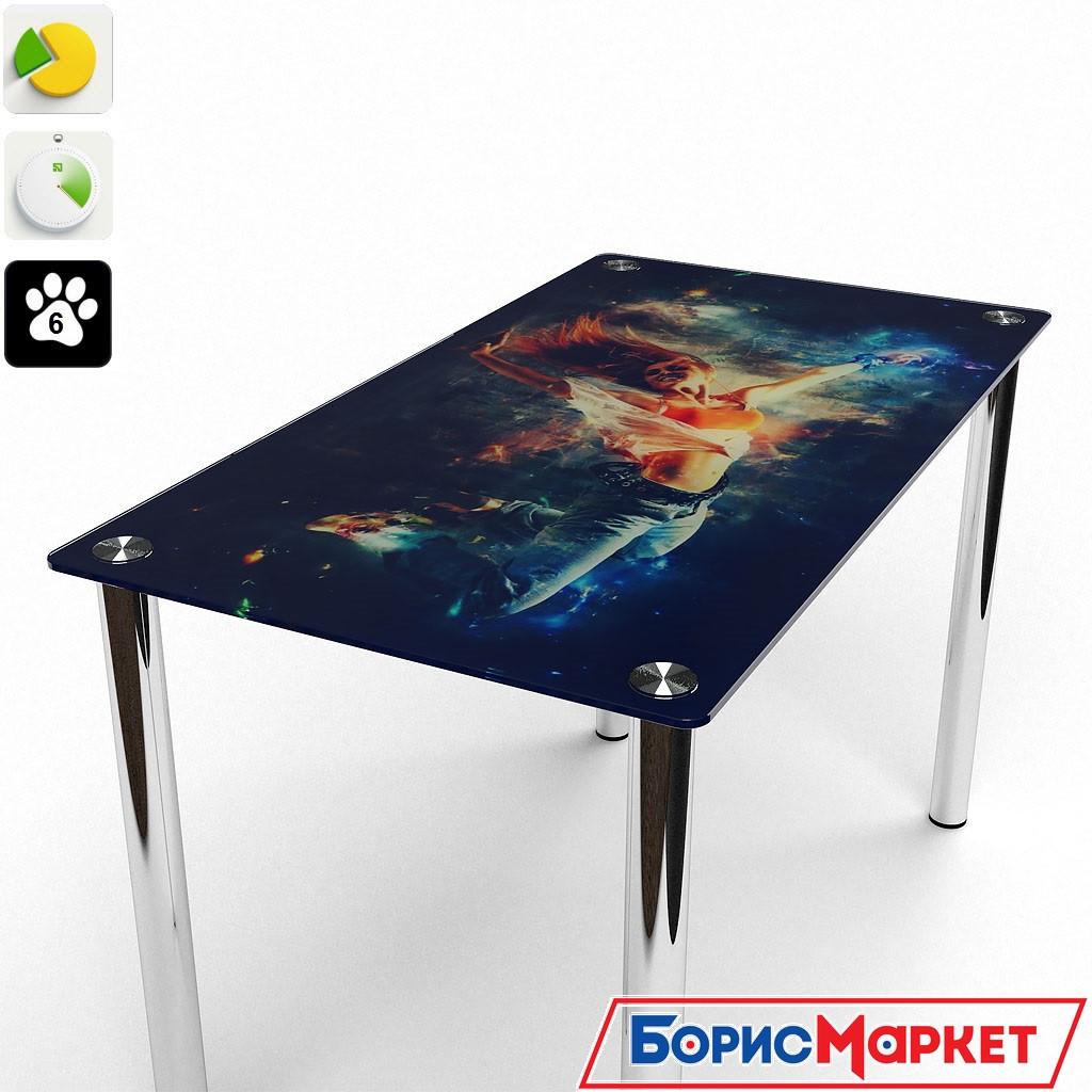 Обеденный стол стеклянный прямоугольный Фотопечать от БЦ-Стол