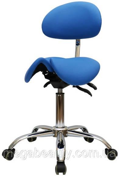 Стул-седло для мастера с разделенным сидением, со спинкой, мод. 4008-1 ЦВЕТ ЧЁРНЫЙ Синий