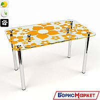 Обеденный стол стеклянный прямоугольный Цветение S-2 от БЦ-Стол