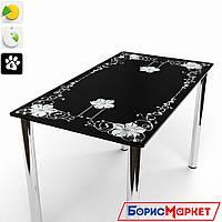 Обеденный стол стеклянный прямоугольный Цветок от БЦ-Стол 910х610 *Эко