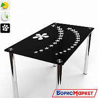 Обеденный стол стеклянный прямоугольный Цветочный салют от БЦ-Стол 910х610 *Эко