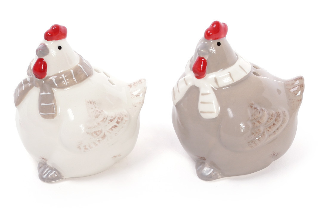 Набір для спецій Курочки: солонка і перечниця 7см, колір - білий з бежевим (834-724)