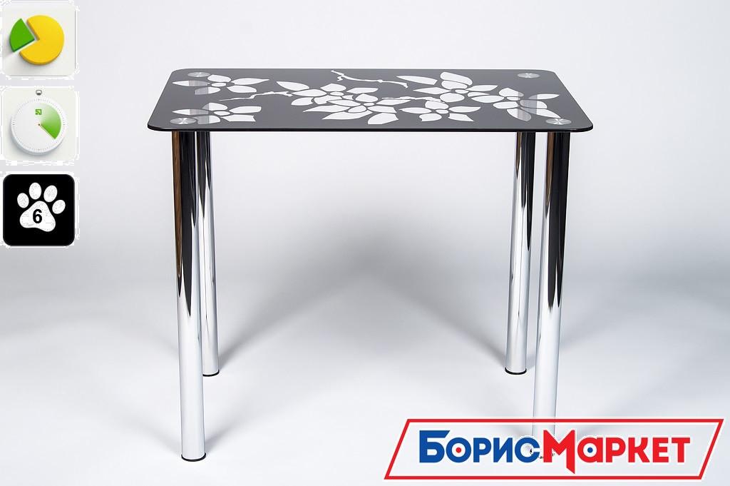 Обеденный стол стеклянный прямоугольный Цветение от БЦ-Стол 910х610 *Эко