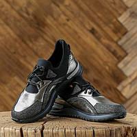 baf702b1ce1a Женские демисезонные кроссовки на плоской подошве из натуральной кожи  (серебристые) 37 размер