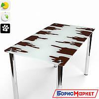 Обеденный стол стеклянный прямоугольный Шоколадный от БЦ-Стол 910х610 *Эко