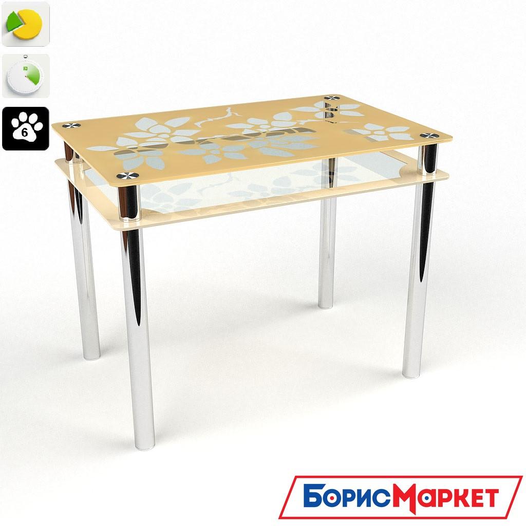Обеденный стол стеклянный прямоугольный Цветы-Рамка от БЦ-Стол 910х610 *Эко