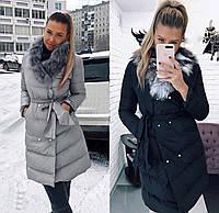 Куртка женская, пуховик, черный, серый, 42, 44, 46