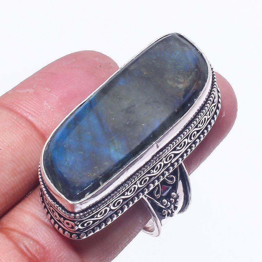 Кольцо лабрадор в серебре 19 размер. Кольцо с лабрадором. Индия