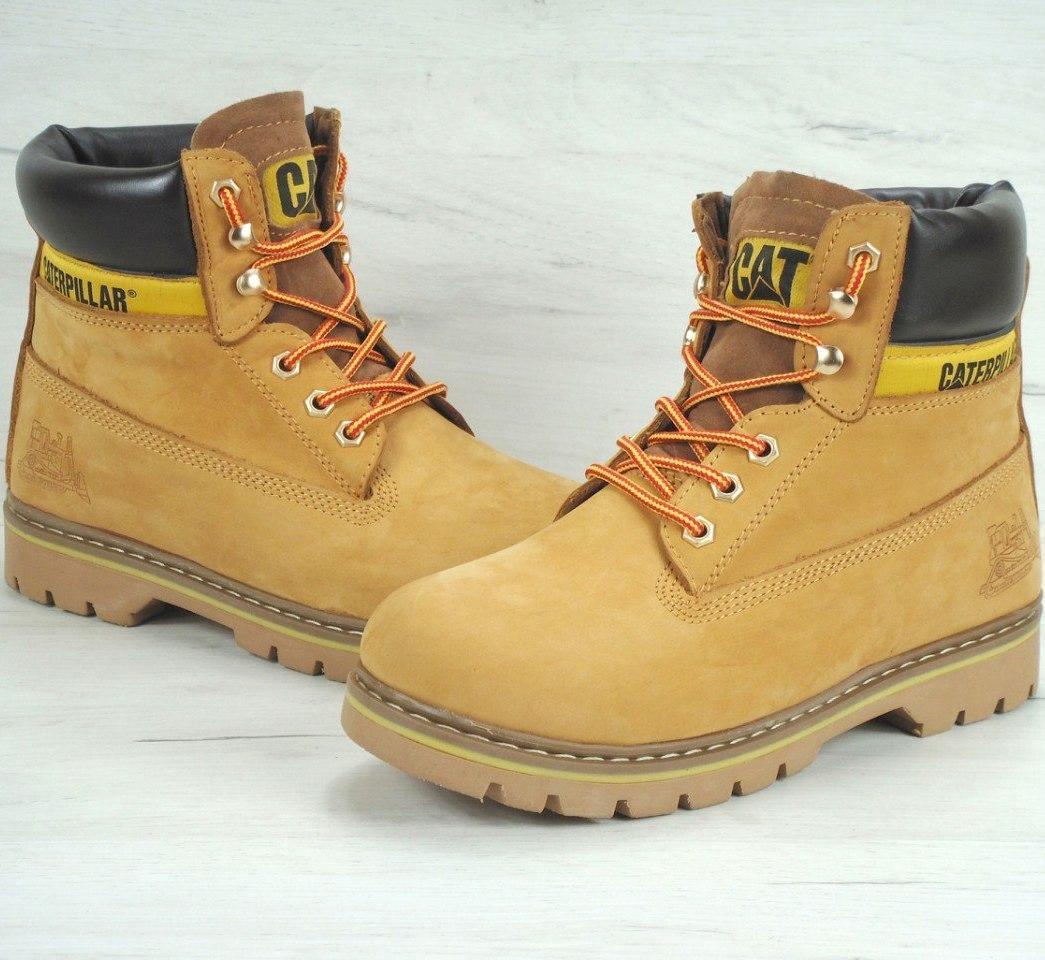 cfdb80aa4 Мужские (женские) зимние ботинки в стиле Caterpillar CAT Yellow с мехом