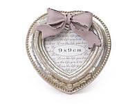 Рамка для фото деревянная в форме сердца с декором из искусственного камня Бант серебро антик, 497-107
