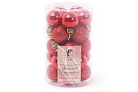 Набор елочных шаров 3см, цвет - красный, 25 шт: 5 шт - мат, 10 шт - глитер, 10шт - глянец , пластик (147-470)
