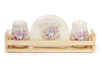 Набор для специй: солонка, перечница, салфетница на деревянной подставке Гортензия 844-735