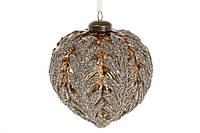 Елочное украшение в форме луковицы с декором 10см, цвет - коричневый с серебром, стекло, в уп. 4шт. (874-118)