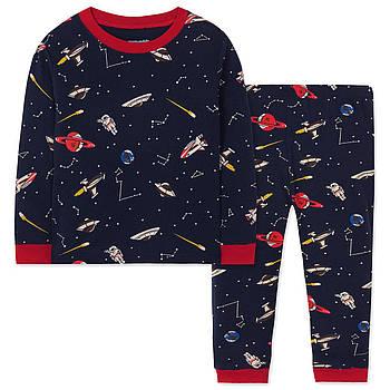Пижама для мальчика кофта с длинным рукавом и штаны Космос Wibbly pigbaby Синяя (48472)