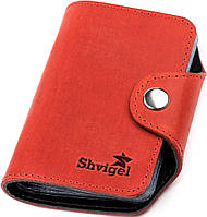 Визитница вертикальная Shvigel 13910 кожаная Красная, Красный, фото 1