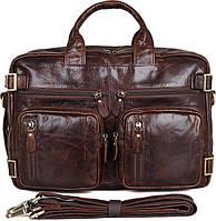Сумка мужская Vintage 14590 кожаная Коричневая, Коричневый, фото 1