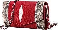 Сумка-клатч STINGRAY LEATHER 18216 из натуральной кожи морского ската Красная, Красный