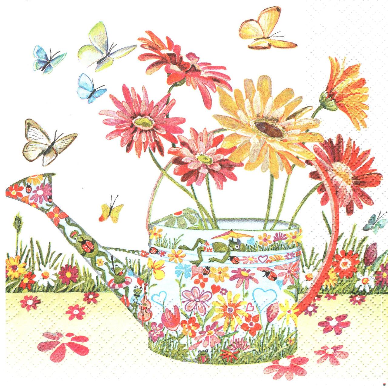 Декупажная салфетка Лейка с цветами 4133