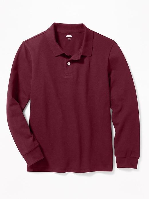 Школьная рубашка-поло с длинным рукавом на мальчика 10-11-12-13-14 лет Цвет бордовый. OldNavy (США)