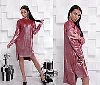Трикотажное блестящее платье оверсайз красного цвета 42-46 р, женские вязаные платья оптом от производителя