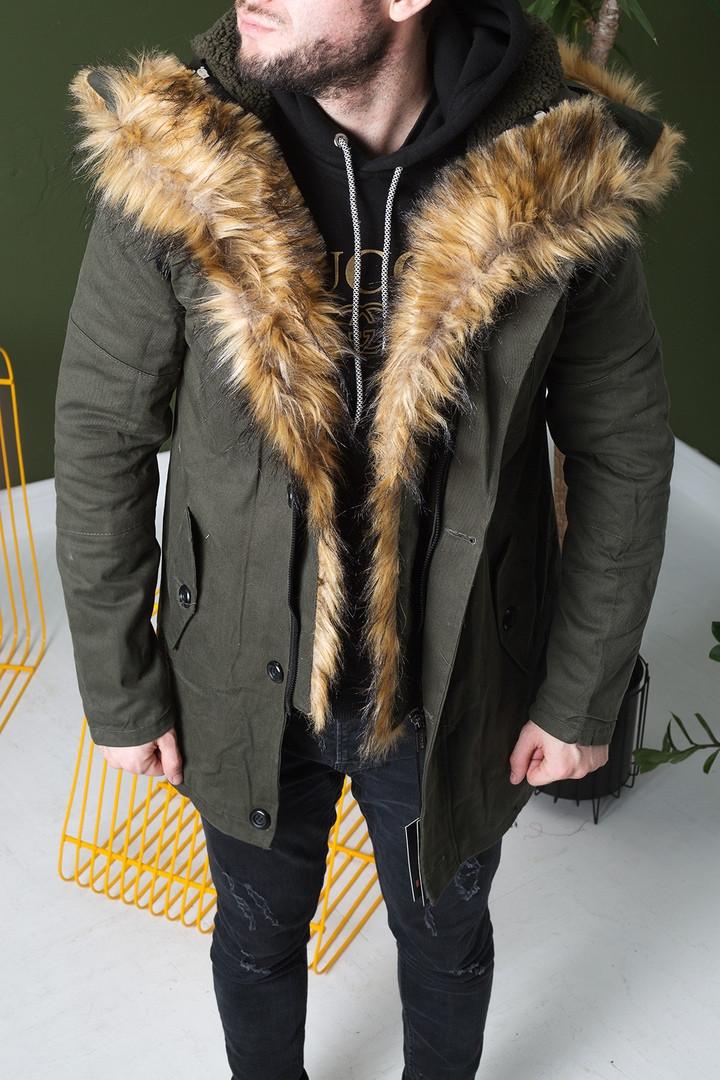 Куртка мужская зимняя цвет хаки(парка). Куртка чоловіча зимова.ТОП КАЧЕСТВО!!!