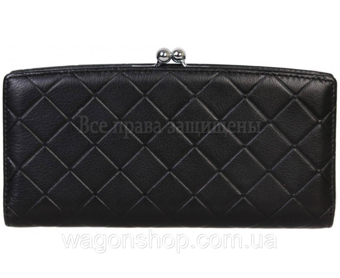Эксклюзивный женский кожаный большой кошелек черного цвета Marco Coverna