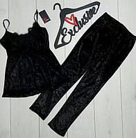 Модная черная велюровая  женская пижама с кружевом на 40-42