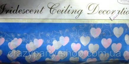 Гирлянда-подвеска Сердца бело-розовые 3,65 м