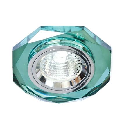 Точечный встраиваемый светильник Feron 8020-2 зеленый+серебро