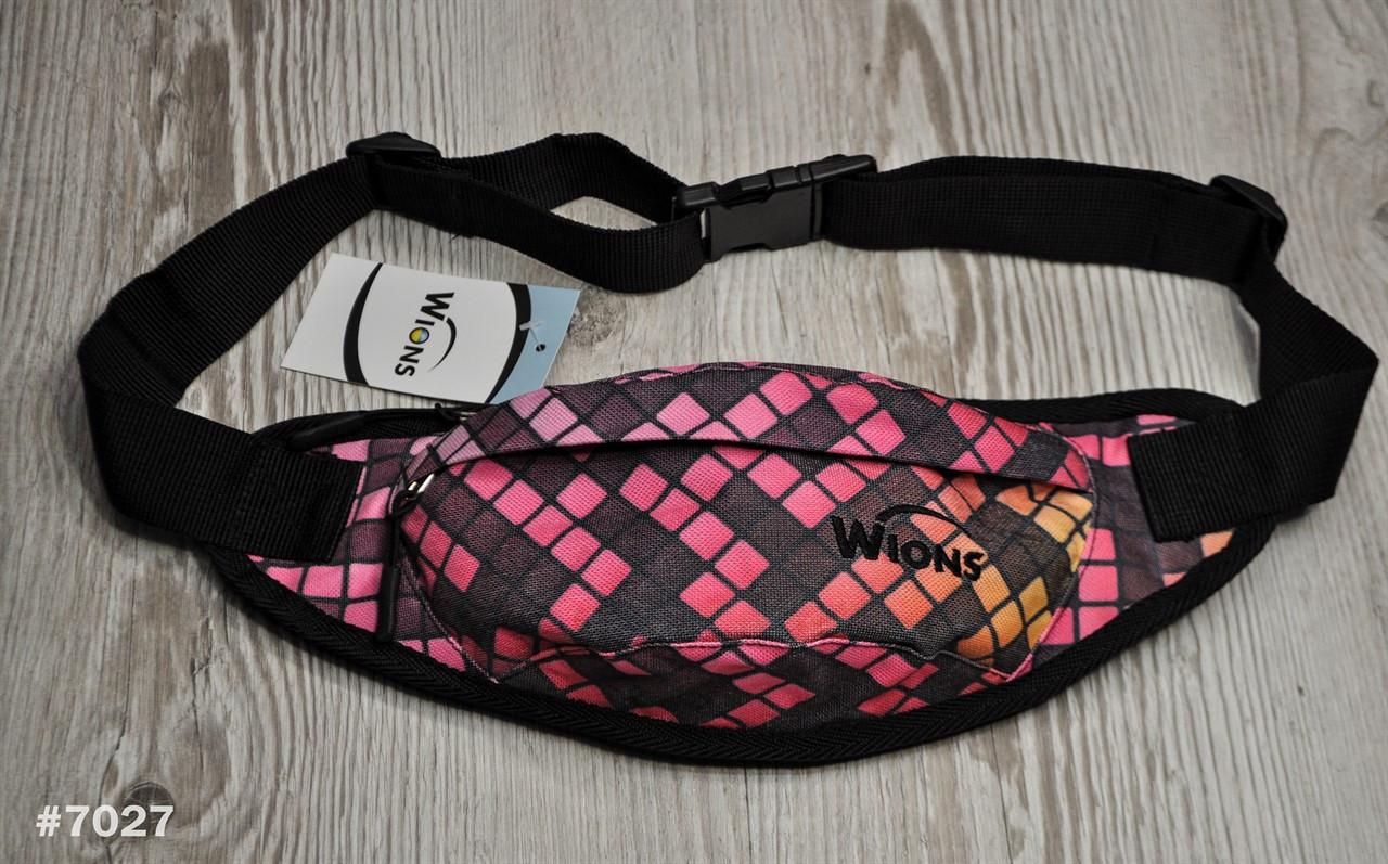 Поясная сумка Бананка Wions Pixel Pink. Материал: плотная, водоустойчивая ткань Oxford 600D