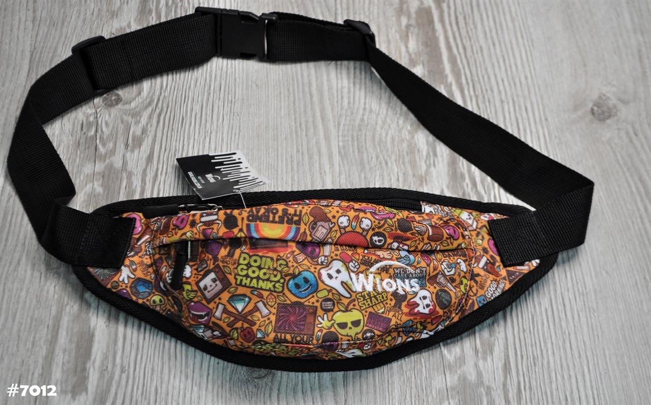 Поясная сумка Бананка Wions Comics Orange. Материал: плотная, водоустойчивая ткань Oxford 600D