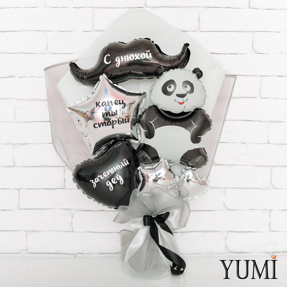 Букет из мини-фигур с пандой, усами, сердцем и звездой с надписями