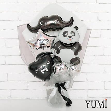 Букет из мини-фигур с пандой, усами, сердцем и звездой с надписями, фото 2