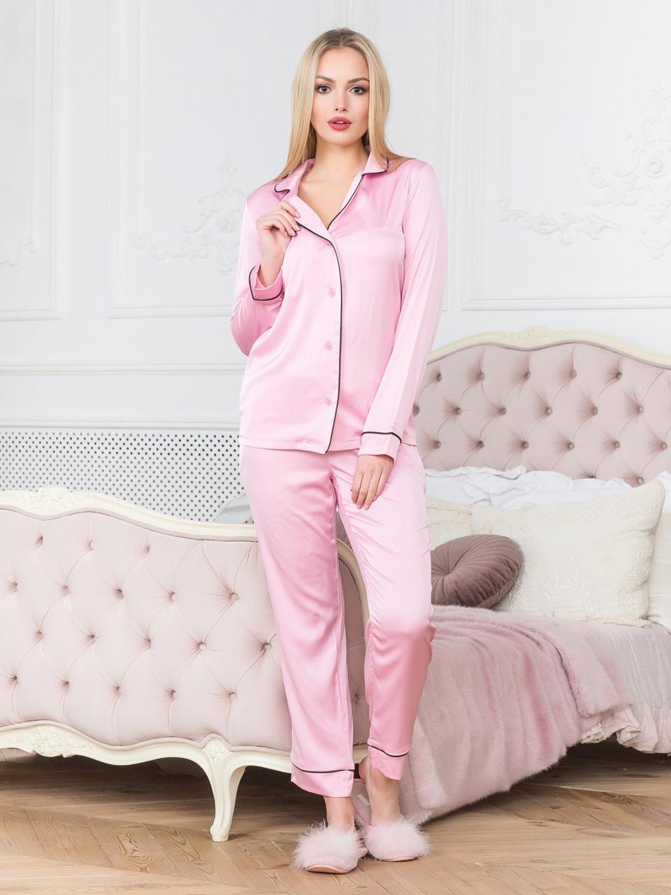 6bb5a3565d32 Шелковая нежная пижама с кантом розовая Кристи - DS Moda - женская одежда  оптом от производителя