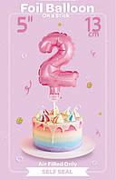 Шарик фольгированный на палочке цифра 2 розовая
