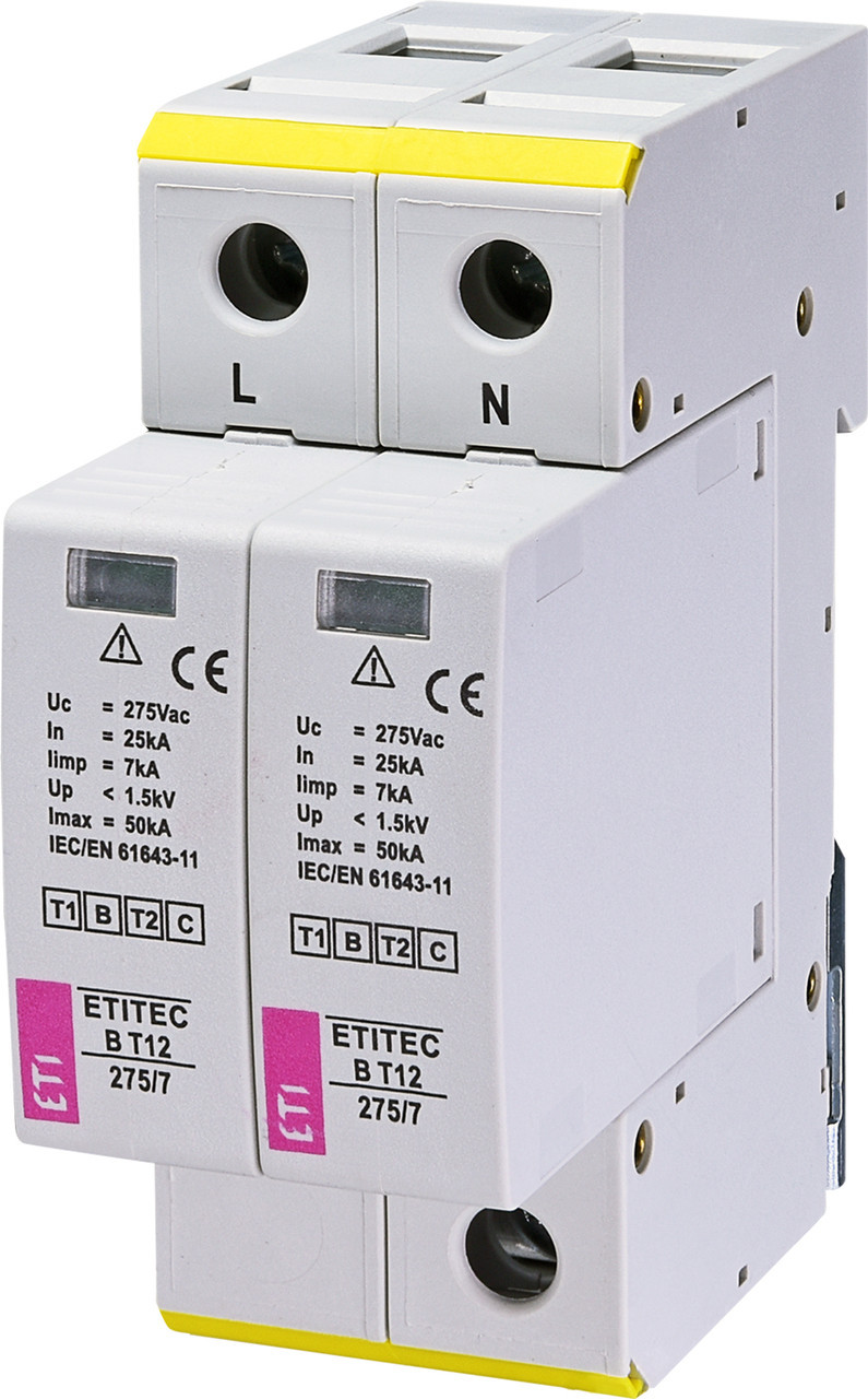 Ограничитель перенапряжения ETITEC B T12 275/7 (2+0) 2p (2440338)