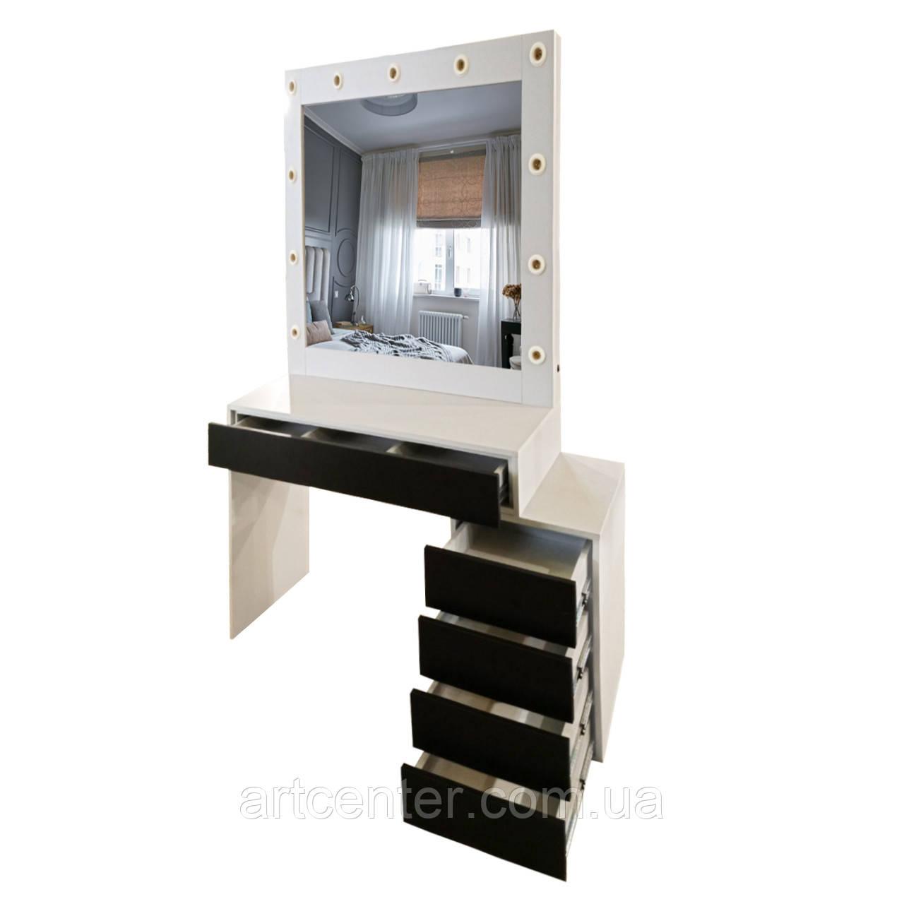 Гримерный стол с тумбой и выдвижными ящиками, стол для макияжа с зеркалом, стол визажиста