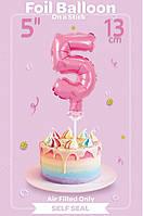 Шарик фольгированный на палочке цифра 5 розовая