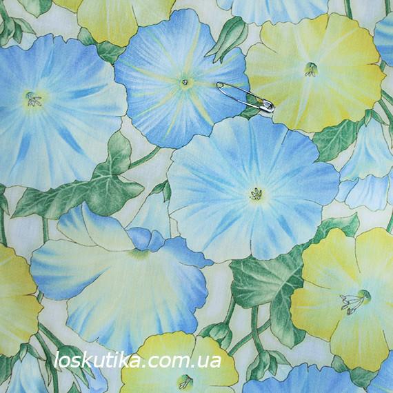 36028 Полевой вьюнок. Натуральный хлопок для шитья летнего платья и рукоделия. Цветочный принт.
