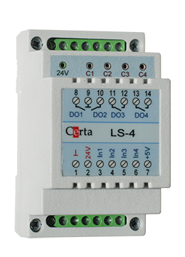 LS4 - Сигнализатор уровня жидкости (или затопления) четырехканальный.