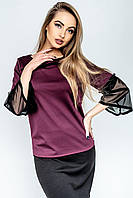 """Блуза женская модельная """"Риона""""  р. 44-52 Бордо, фото 1"""