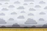 """Ткань """"Облака разного размера"""" серые на белом фоне (№ 576а), фото 2"""