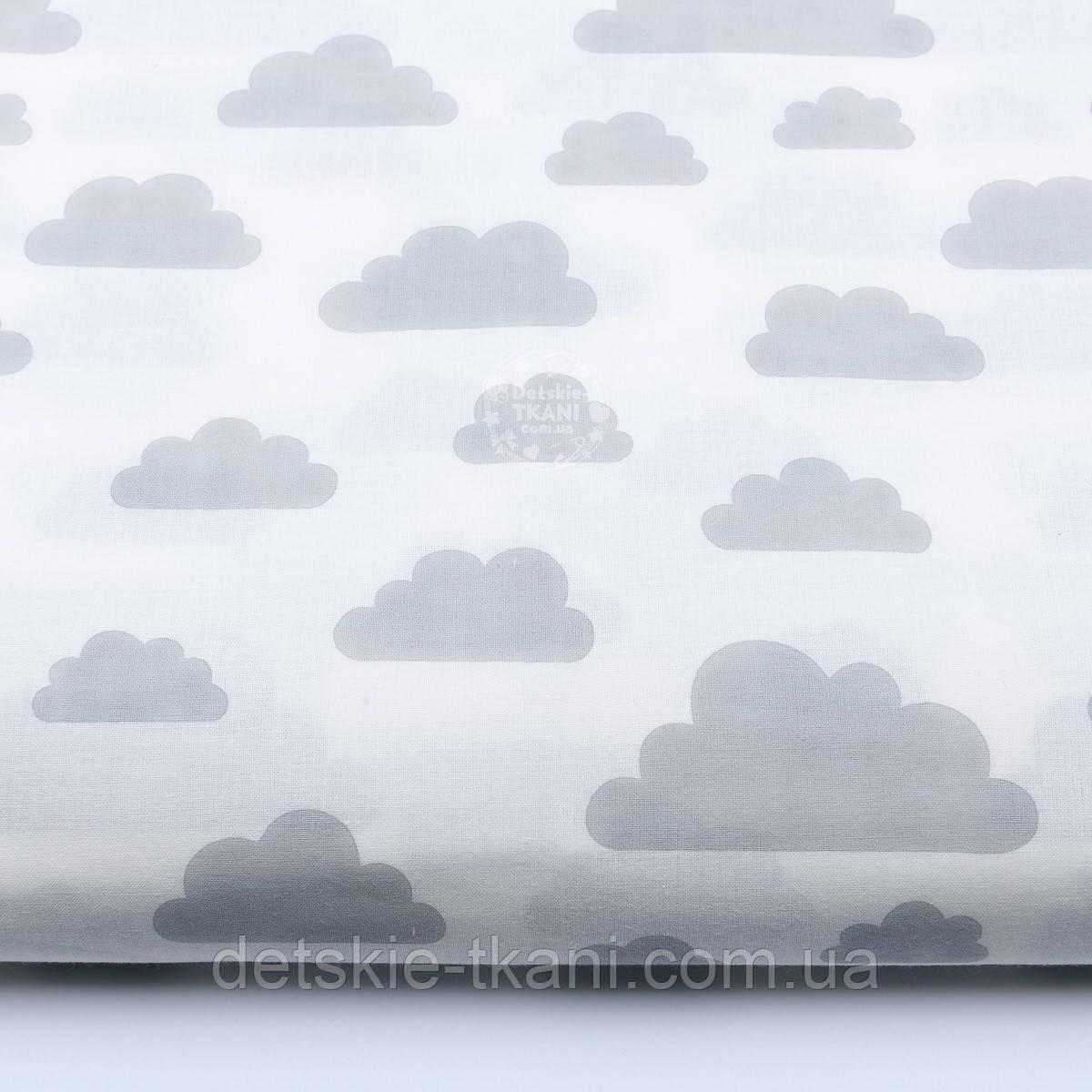 """Ткань """"Облака разного размера"""" серые на белом фоне (№ 576а)"""