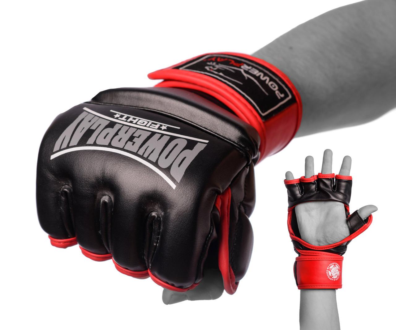 Перчатки для MMA PowerPlay 3058 черно-красные XL