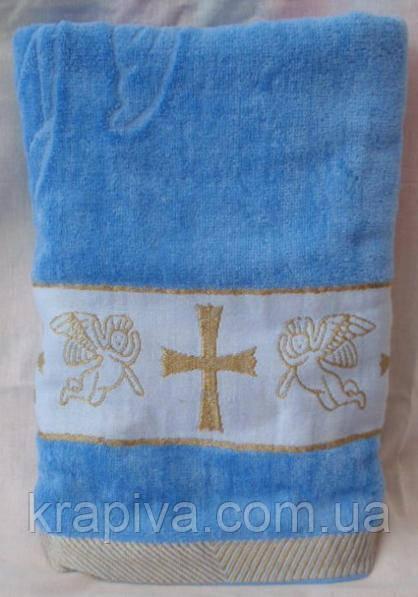 Полотенце голубое крестильное, крыжма Золото голубой