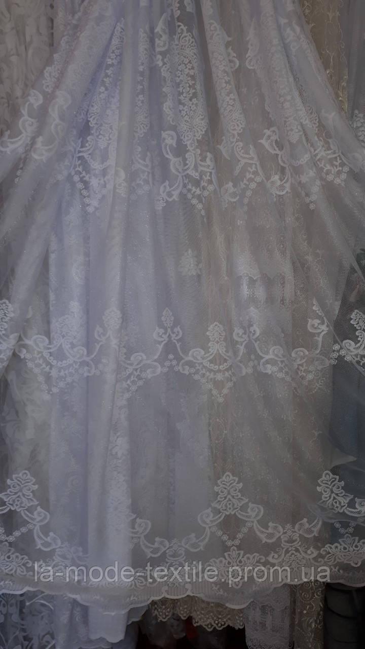 Гардина тюль сеточка вензель крупный королевский белый
